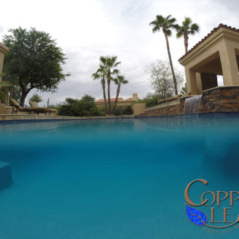 Pebble Sheen Pool - Aqua Blue Pebble Sheen pool interior finish.