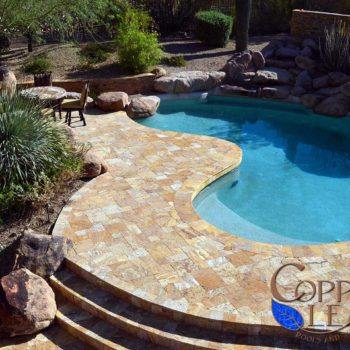 Travertine pavers and coping