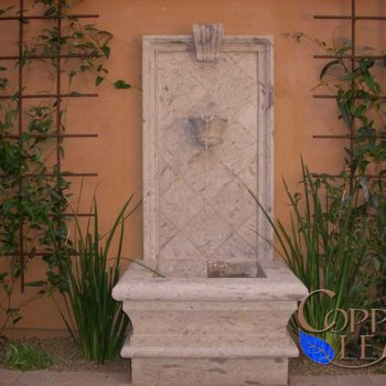 Cantera Fountain- Custom cantera fountain in a courtyard.
