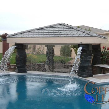 Rainfall Ramada - Enclosed ramada with scuppers and rainfall water feature.