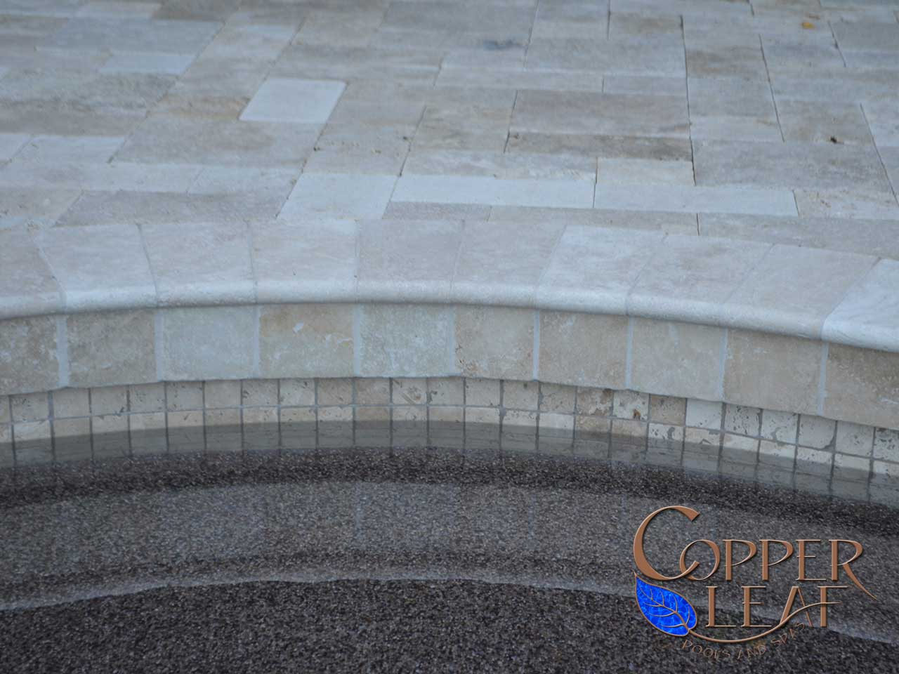 Travertine Coping In North Scottsdale Copper Leaf Pools