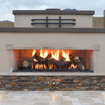 Oversized outdoor fireplace