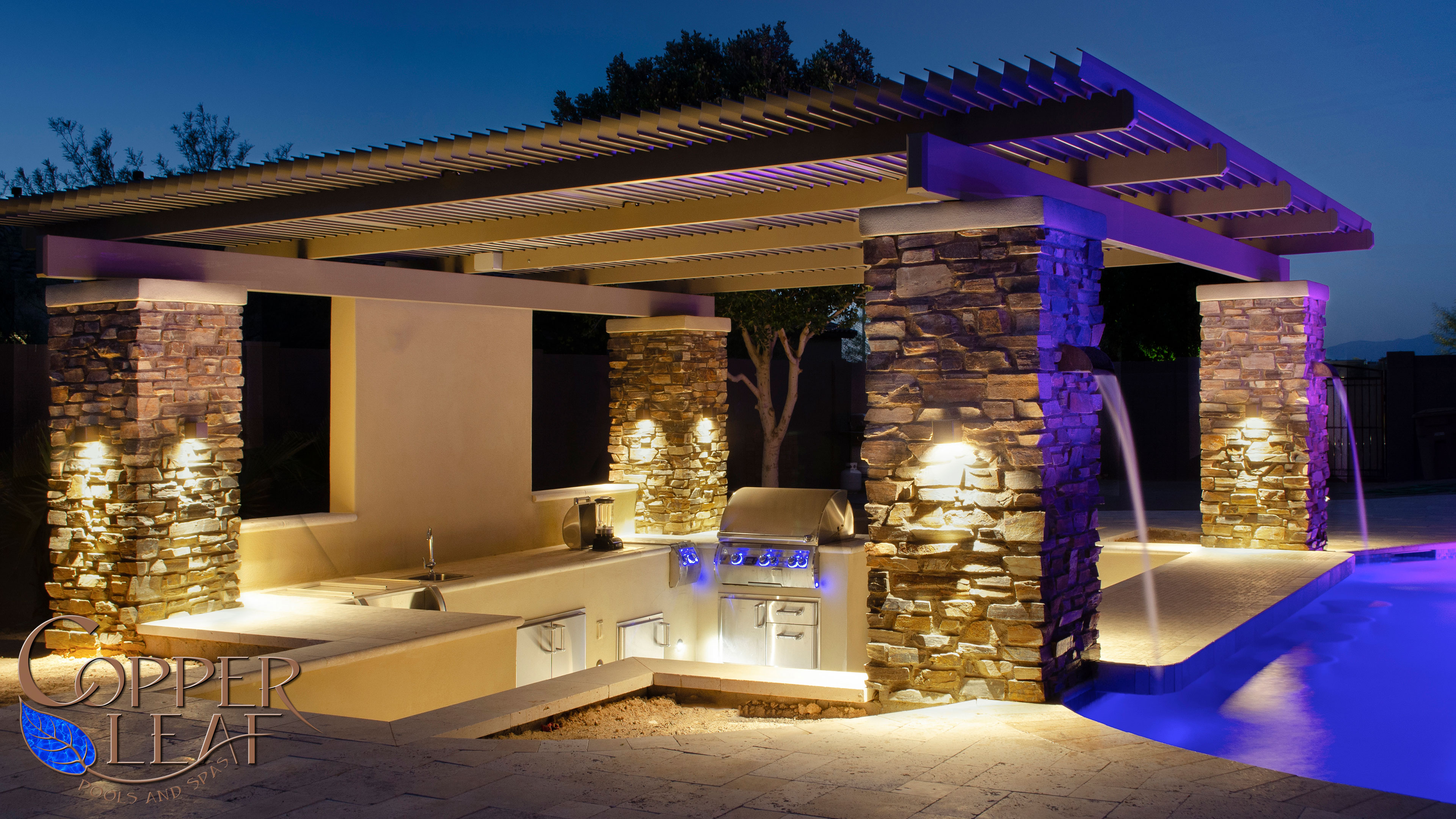 Pergola With Water Feature In Phoenix Az Copper Leaf Pools