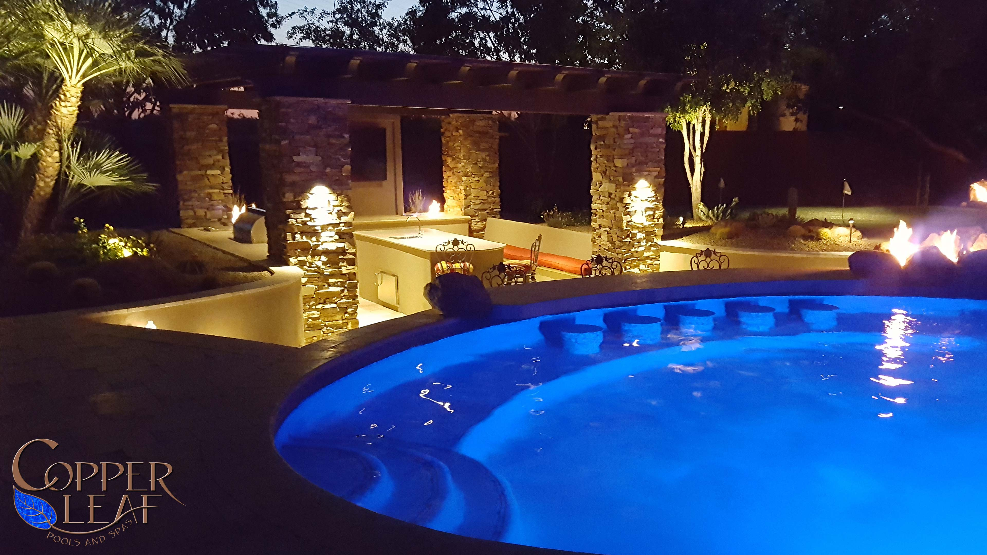 Kitchen With Pergola In Scottsdale Az Copper Leaf Pools