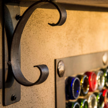 Wine Bottle Bar with Iron Accents