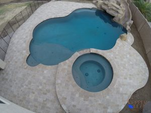 Travetine Deck and Coping Around Swimming Pool